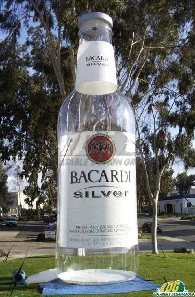 Inflatable Bacardi Silver Rum Bottle Replica
