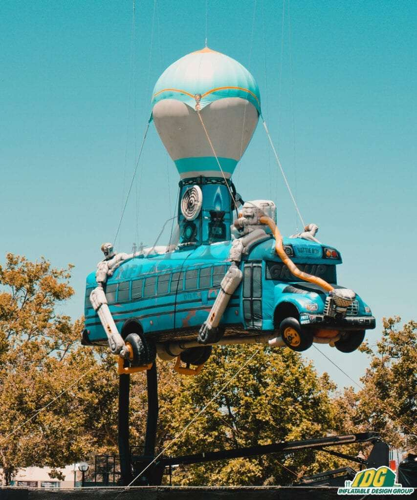 Custom entertainment inflatable Fortnite Battle Bus Flying