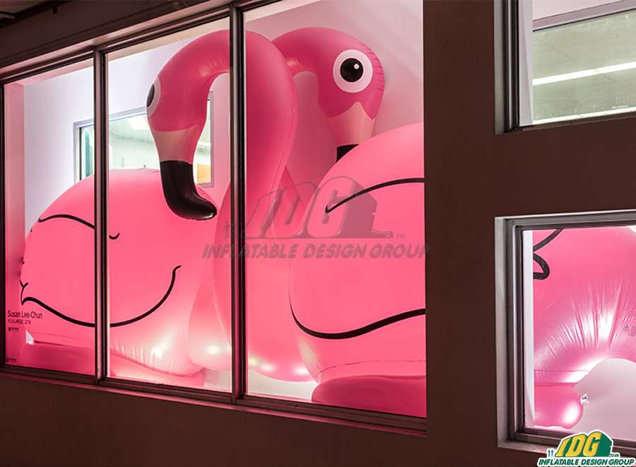 Custom entertainment inflatable flamingos for Bedford Gallery art installation
